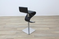 Black Leather Crome Base Bar Stool - Thumb 7