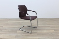 Brunner Burgundy Leather Cantilever Meeting Chair - Thumb 5