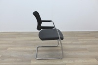 Brunner Black Mesh Back Grey Leather Seat Meeting Chair - Thumb 6