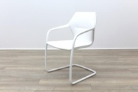 Brunner White Leather White Metal Frame Meeting Chair - Thumb 3