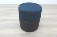 Brunner Black Leather Blue Fabric Low Stool Chair - Thumb 3