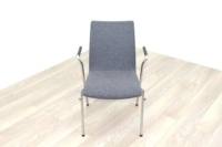 Brunner Light Grey Fabric Meeting Chair with Round Armrests - Thumb 2
