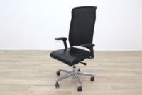 Interstuhl Black Leather Seat Operator Chair High Back - Thumb 3