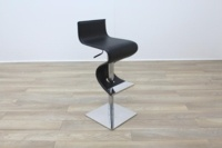 Black Leather Crome Base Bar Stool - Thumb 5