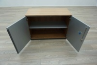 Bene AL Walnut / Silver Double Door Executive Office Storage Cupboards - Thumb 4