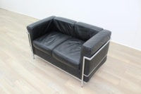 Black Leather Le Corbusier Style 2 Seater Office Reception Sofa - Thumb 4