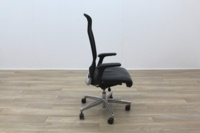Interstuhl Black Leather Seat Operator Chair High Back - Thumb 6