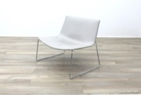Arper Catifa 80 Sled Grey Leather Reception Chair - Thumb 2