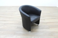 Black Leather Office Reception Tub Chair - Thumb 5