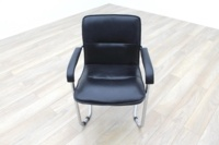 Black Leather Cantilever Office Meeting Chair - Thumb 2