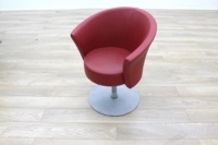 Connection Bobbin Red Leather Office Reception Tub Chair - Thumb 2
