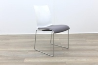 Brunner Blue and White Back with Grey Leather Seat Meeting Chair - Thumb 5