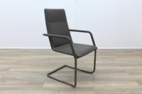 Brunner Grey Leather Cantilever Meeting Chair - Thumb 5