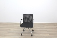 Zuco Visita Black Fabric Seat / Black Mesh Back Office Meeting Chair - Thumb 3