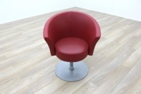 Connection Bobbin Red Leather Office Reception Tub Chair - Thumb 3