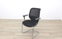 Orangebox Joy Black Fabric Seat / Black Mesh Back Cantilever Office Meeting Chairs - Thumb 2