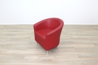 Red Leather Office Reception Tub Chairs - Thumb 4
