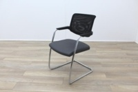 Brunner Black Mesh Back Grey Leather Seat Meeting Chair - Thumb 3