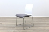 Brunner Blue and White Back with Grey Leather Seat Meeting Chair - Thumb 3