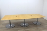 Golden Maple Veneer Barrel Shape Meeting Table - Thumb 4