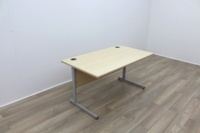 Maple 1400mm Cantilever Straight Office Desks - Thumb 2