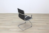 New Black Ribbed Leather Cantilever Office Meeting Chair - Thumb 7