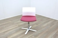 Dynamobel White Back Pink Fabric Seat Meeting Chair - Thumb 2