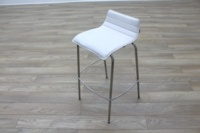 White Leather / Chrome Office Canteen / Cafe Bar Stools - Thumb 6