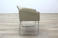 Allermuir Tommo Ivory Leather Chrome Frame Office Meeting / Canteen Chair - Thumb 6