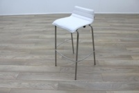 White Leather / Chrome Office Canteen / Cafe Bar Stools - Thumb 3