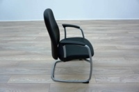 Black Leather Cantilever Office Meeting Chairs - Thumb 4