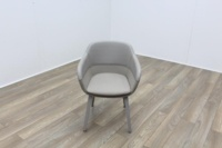 Brunner Grey Leather Back Grey Fabric Seat Reception Tub Chair - Thumb 2