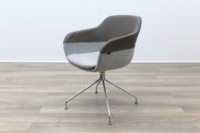 Brunner Brown Leather Back Grey Fabric Seat Reception Tub Chair - Thumb 3