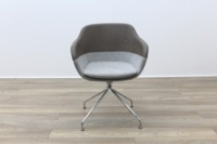 Brunner Brown Leather Back Grey Fabric Seat Reception Tub Chair - Thumb 4
