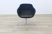 Brunner Blue Fabric Back Grey Leather Seat Reception Tub Chair - Thumb 4