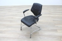 Giroflex 16 Series Black Leather Cantilever Office Meeting Chairs - Thumb 2