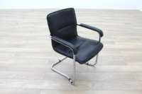 Black Leather Cantilever Office Meeting Chair - Thumb 5