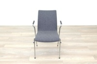 Brunner Light Grey Fabric Meeting Chair with Round Armrests - Thumb 4
