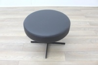 Brunner Dark Grey Leather Round Chair - Thumb 4