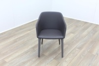 Brunner Light Grey Leather Grey Wooden Frame Reception Tub Chair - Thumb 2