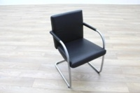 Vitra Visasoft Black Leather Cantilever Office Meeting Chairs - Thumb 5
