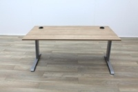 Light Walnut 1600mm Straight Office Desks - Thumb 2