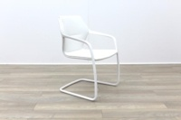 Brunner White Leather White Metal Frame Meeting Chair - Thumb 5