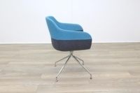 Brunner Grey and Blue Fabric Reception Tub Chair - Thumb 6