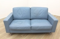 Poltrona Frau Blue Leather Executive Office Sofa - Thumb 3