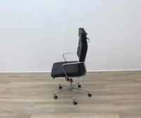Charles Eames Soft Pad Style High Back Black Leather Faced Task Chair - Thumb 3