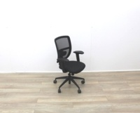Black Mesh Back Black Fabric Seat Operator Chair - Thumb 2