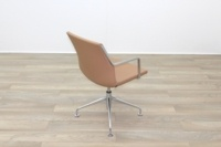 Kron Tan Brown Leather Executive Office Meeting Chairs - Thumb 7
