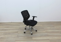 Black Operator Chairs With Mesh Back And Fabric Seat - Thumb 6