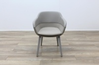 Brunner Grey Leather Back Grey Fabric Seat Reception Tub Chair - Thumb 4